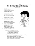 My Brother Stole My Candy Poem Poetry Third 3rd Grade STAAR Reading Passage