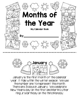 My Calendar Book - Months of the Year