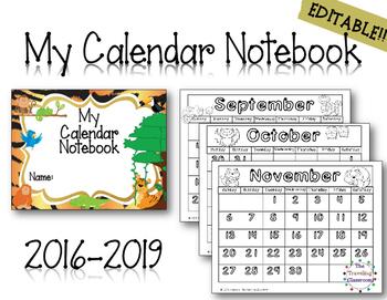MORNING WORK My Calendar Notebook - student calendars