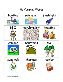 My Camping Word Wall Words