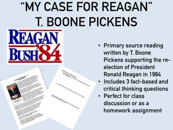 """My Case for Reagan"" - T. Boone Pickens - USH/APUSH"