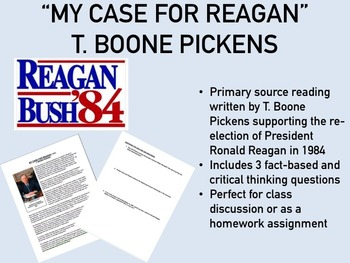 """My Case for Reagan"" - T. Boone Pickens - USH/APUSH"