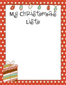 my christmas list activity paper - My Christmas List