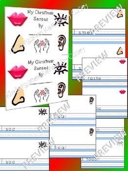 My Christmas Senses Writing Mini Books - 5 Senses Science Kindergarten 1st