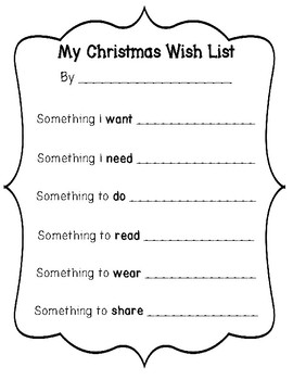 My Christmas Wish List Writing Templates (Needs and Wants Christmas List)