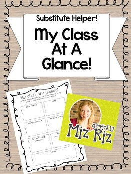 My Class At A Glance! {Substitute Helper}
