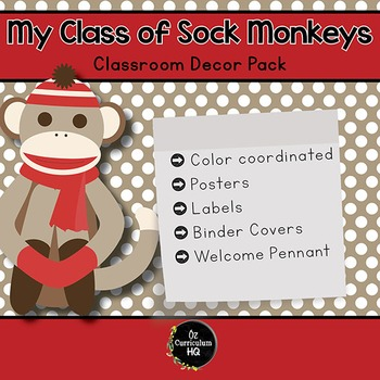 My Class of Sock Monkeys {Classroom Decor Pack}