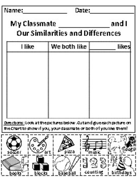 My Classmate and I: Similarities and Differences Picture Sort Graph Activity