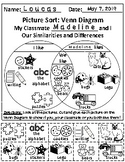 My Classmate and I:Similarities + Differences Picture Sort Venn Diagram Activity