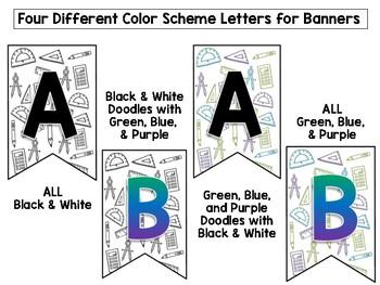 Math Doodle Classroom Decor Set- Bundle of Posters Signs Labels
