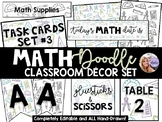 Math Doodle Classroom Decor Set- Bundle of Posters Signs Labels