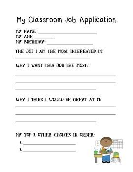 Simple Classroom Job Application