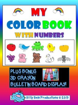 Color Book With Numbers Activity with Bonus 3D CRAYON Display