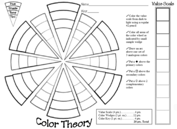 My Color Wheel Worksheet by Noreen Strehlow Art Teacher | TpT