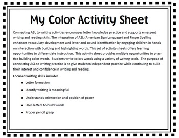 American Sign Language (ASL) ~My Color Words Activity Sheet