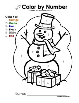 My Color by Letter AND Number Snowman - Winter/Christmas - BUNDLE PACK