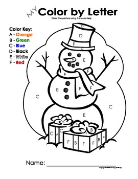 My Color by Letter Snowman - Winter/Christmas