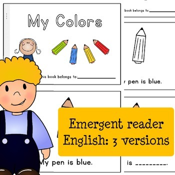 My Colors - English Emergent Reader Books - 3 versions: read, color and write