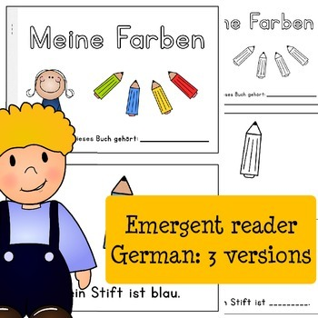 My Colors - German Emergent Reader Meine Farben - 3 versions: read and write