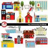 My Community Buildings Clipart by Poppydreamz