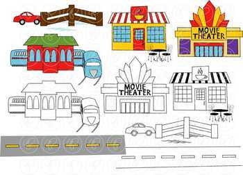 My Community Buildings Clipart by Poppydreamz