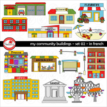 My Community Buildings Set 02 IN FRENCH Clipart by Poppydreamz