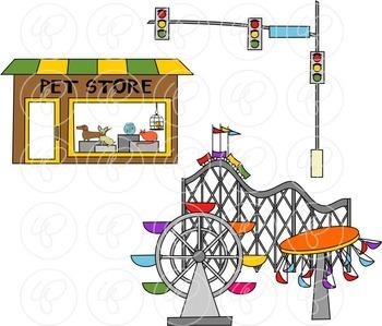 My Community Buildings Set 02 Clipart by Poppydreamz