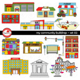 My Community Buildings Set 02 Clipart by Poppydreamz