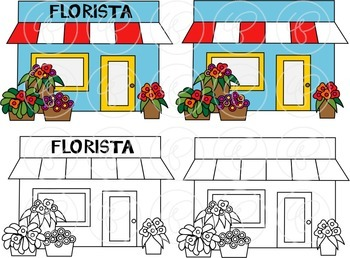My Community Buildings Set 02 IN SPANISH Clipart by Poppydreamz