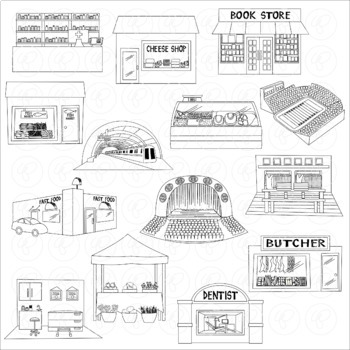 My Community Buildings Set 03 Clipart by Poppydreamz
