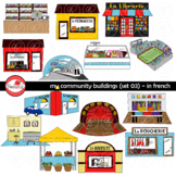 My Community Buildings Set 03 in FRENCH Clipart by Poppydreamz