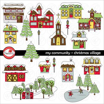 My Community Christmas Village Clipart by Poppydreamz