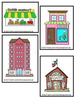 My Town Block Center- Preschool Learning Centers (Community Helpers and Maps)