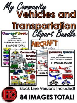 My Community: Vehicles and Transportation Clip Art Bundle