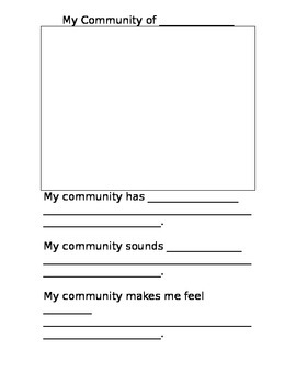 My Community Worksheet (grade k/1) by Kayla Landry | TpT
