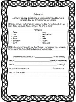 My Community Writing Template