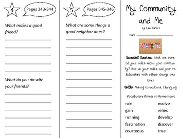 My Community and Me Trifold - Open Court 2nd Grade Unit 3 Lesson 2