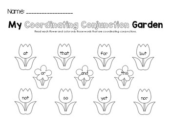 My Coordinating Conjunction Garden Worksheet