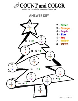 My Count and Color Christmas Tree - Winter/Christmas (Subtraction under 20)