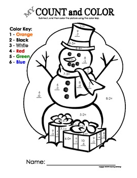 My Count and Color Snowman - Christmas/Winter (Single-digit subtraction)