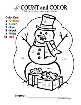 My Count and Color Snowman - Christmas/Winter (Using single-digit addition)