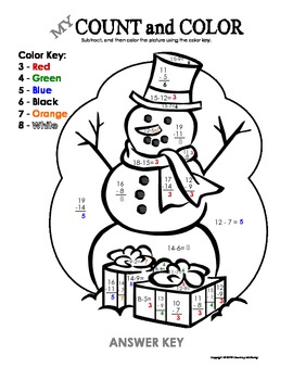 My Count and Color Snowman - Winter/Christmas (Subtraction under 20)