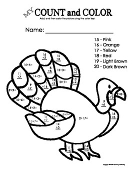 My Count and Color Turkey - Fall/Thanksgiving (Addition up to 20)