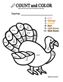 My Count and Color Turkey - Thanksgiving (Single-digit addition & subtraction)