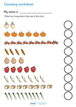 My Counting Worksheet (Harvest)