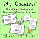 US Symbols and Monuments Book Kindergarten 1st Grade Block Print