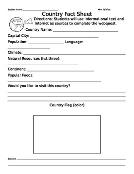 My Country Fact Sheet