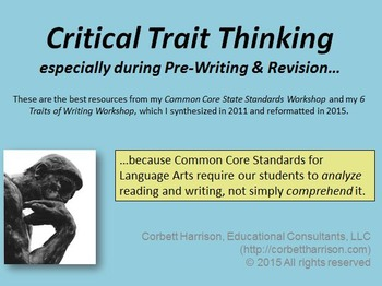 """My """"Critical Trait-Thinking"""" Workshop--including all of my"""