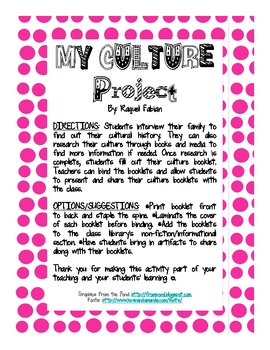 My Culture Interview Form and Booklet
