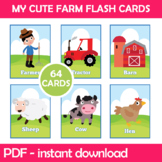 My Cute Farm Flash Cards Instant Download PDF; Preschool,